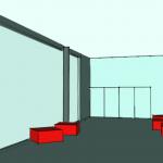 Implantation du mobilier dans le hall Sud