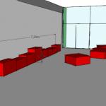 Implantation du mobilier dans le hall Nord